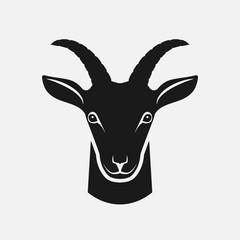 Goat head black silhouette. Farm animal icon