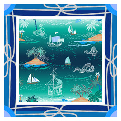 Silk scarf with ropes, sea and boats.