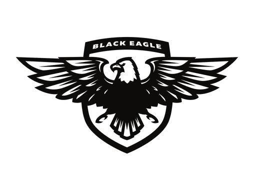 Black eagle logo, symbol, emblem.