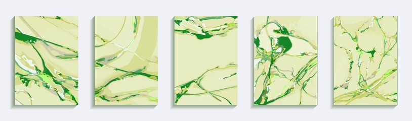 set of bright green backgrounds wiht marble texture