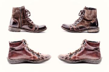 deux paires de vieilles bottines à lacets