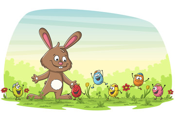 Cartoon happy easter greating card with rabbit and eggs.