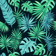 Tropical leafs background. Turquoise and green tropical leaves. Fashion, wrapping, interior, packaging suitable. hand drawn palm leaves on dark background. Summer pattern. Vector Illustration.
