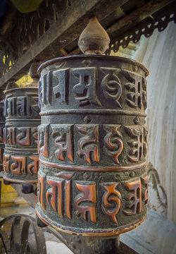 Prayer wheel at Swayambhunath Temple aka Monkey Temple, Kathmandu, Nepal