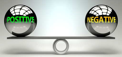 Positive and negative balance, harmony and relation pictured as two equal balls with  text words showing abstract idea and symmetry between two symbols and real life concepts, 3d illustration