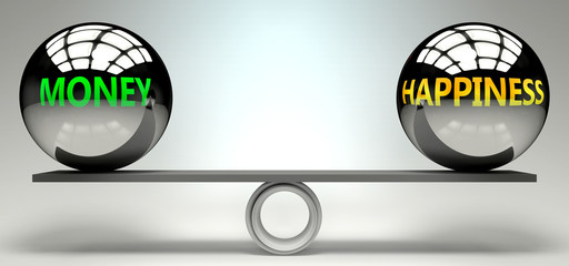 Money and happiness balance, harmony and relation pictured as two equal balls with  text words showing abstract idea and symmetry between two symbols and real life concepts, 3d illustration