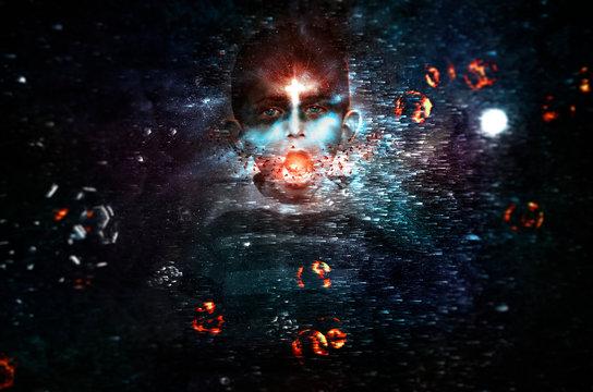 Magical Dreamy dark powers evil boy shouting magic spell galaxy planets universe stars