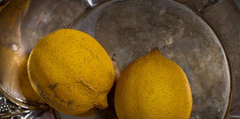 Lemon fruits old style still life