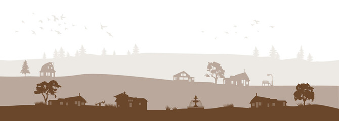 brown grey vector landscape with trees fountain birds and village