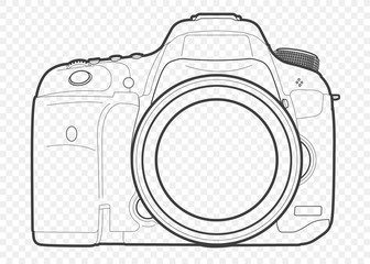 Outline vector illustration of reflex slr camera with lens in front, drawn with lines Wall mural