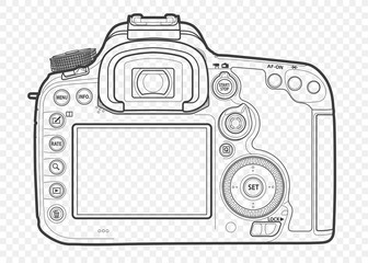 Outline vector illustration of reflex slr camera with lens in front, drawn with lines