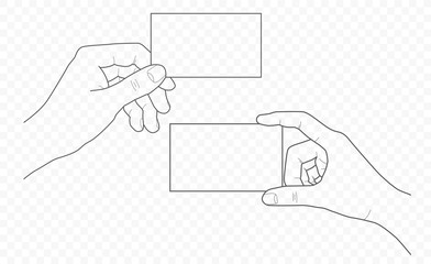 handdrown vector outline and contour illustration of hands with fingers in different gestures with open palms and visiting cards