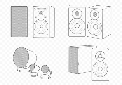 Vector isolated outline illustration of hi-fi hi-end speakers. Multimedia acoustics for music play and voice record with subwoofer