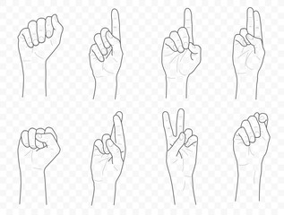 Vector outline hands pack and set with fingers, fist and palm in different poses