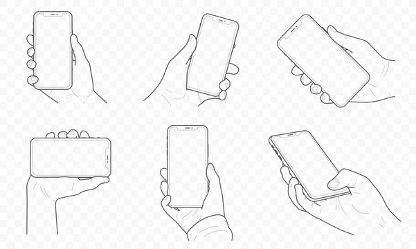 Vector mobile smartphone device outline and contour in hand set with fingers. Touch, swipe and photographing..