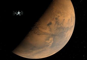 Planet Mars und Raumsonde