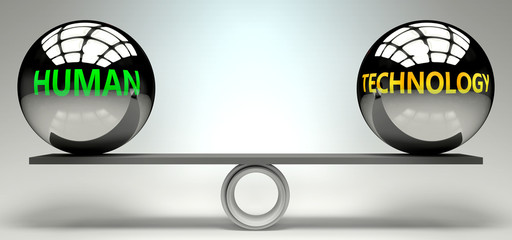 Human and technology balance, harmony and relation pictured as two equal balls with  text words showing abstract idea and symmetry between two symbols and real life concepts, 3d illustration