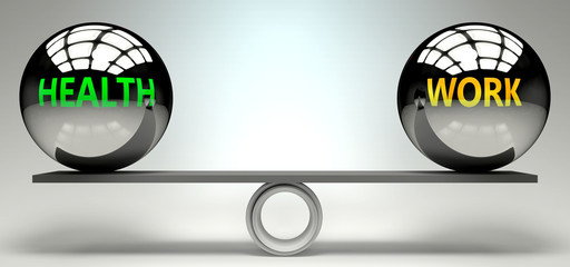 Health and work balance, harmony and relation pictured as two equal balls with  text words showing abstract idea and symmetry between two symbols and real life concepts, 3d illustration