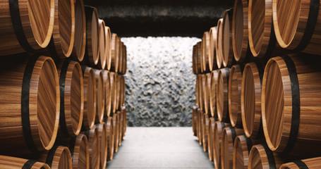 Barrels in the wine cellar 3d illustration