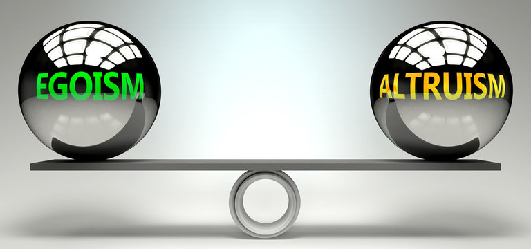 Egoism and altruism balance, harmony and relation pictured as two equal balls with  text words showing abstract idea and symmetry between two symbols and real life concepts, 3d illustration