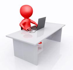 Büroarbeitsplatz mit 3D Figur