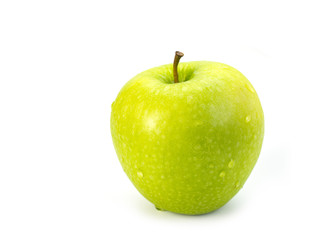 green apple fruit on white background. .