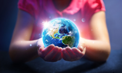 Wall Mural - Child Hold World - Magic Of Life - Earth Day Concept - 3d Rendering - Usa elements of this image furnished by NASA