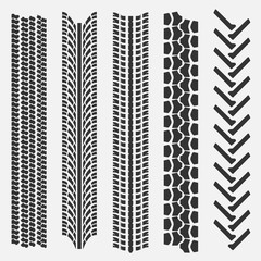 Set of 5 tire treads. Seamless texture. Vector illustration.