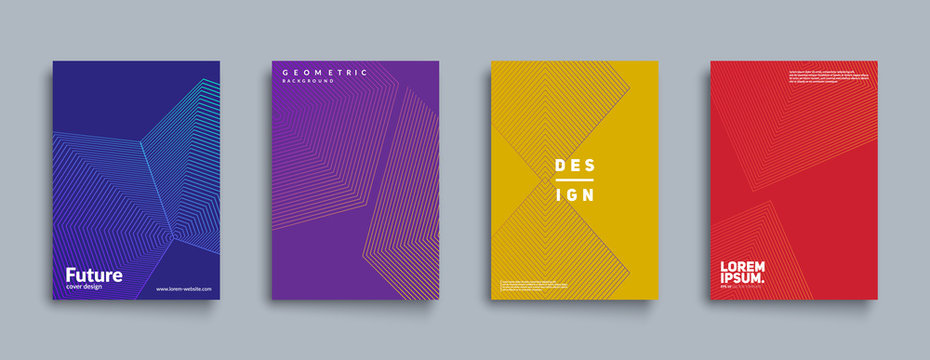 Minimal annual report design vector collection. Halftone texture cover templates set. Eps10 vector.