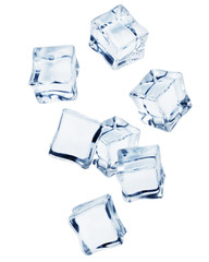 Falling ice cube, isolated on white background, clipping path, full depth of field