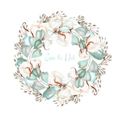 Beautiful  watercolor wedding wreath with cotton, eucalyptus   and leaves.