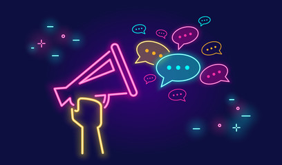 Fototapeta Megaphone shouting out with speech bubbles banner for social networks in neon light style on dark background