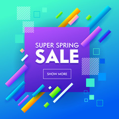 Super Sale Banner Geometric Design for Online Shop App. Small Square Colorful Line Image on Blue Background. Discount Fashion Poster. Abstract Promotion Material Flat Cartoon Vector Illustration