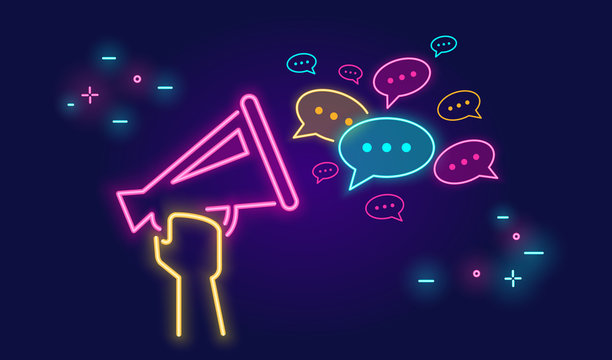 Megaphone shouting out with speech bubbles banner for social networks in neon light style on dark background