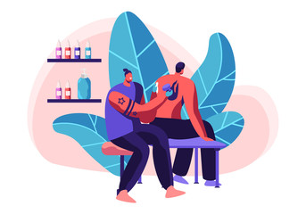 Tattoo Master Make Ink Picture to Man in Parlor. Professional Tattooist Hold Machine in Hand at Work. Young Human Sit Chair in Studio. Artist Paint Client Back Fire. Flat Cartoon Vector Illustration