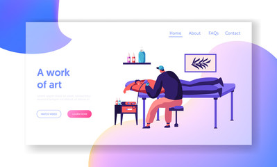 Tattoo Master Make Ink Picture in Parlor Landing Page. Young Professional Tattooist Hold Machine in Hand at Work. Man Artist Paint Client Back Website or Web Page. Flat Cartoon Vector Illustration