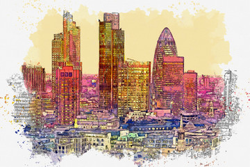 Watercolor sketch or illustration of a beautiful view of the Canary Wharf business district in London in the UK. Cityscape or urban skyline