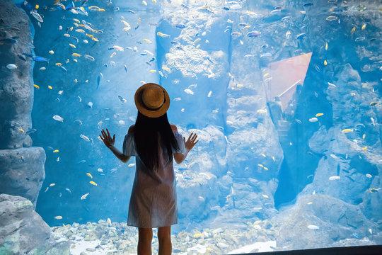 woman near big aquarium with fishes