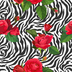 Flowers and Zebra Skin Seamless Pattern. Animal Fabric Background with Floral Elements Fashion Print Design for Wallpaper, Textile. Vector illustration