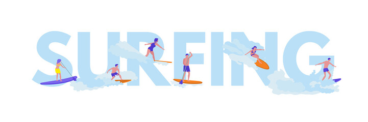 Surfing flat vector illustration with lettering