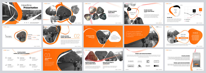 Presentation template. Orange elements for slide presentations on a white background. Use also as a flyer, brochure, corporate report, marketing, advertising, annual report, banner. Vector Wall mural