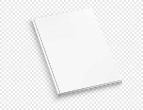 White thin hardcover book vector mock up isolated on transparent background.