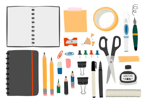 Various office tools. Hand drawn big vector set. Sketchbook, crayons, pencil, eraser, pen, marker, ruler, scissors, binder, stickers, ink, etc. Colored trendy illustration. All elements are isolated