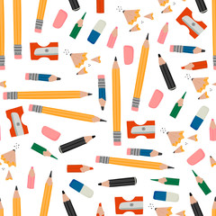 Wall Mural - Various pencils, eraser, sharpener and pencil shavings. Hand drawn vector illustration in trendy style. Colorful seamless pattern