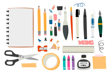 Various tools for drawing or sketching. Hand drawn big vector set. Sketchbook, crayons, pencil, eraser, pen, marker, ruler, scissors, ink, etc. Colored trendy illustration. All elements are isolated Wall mural