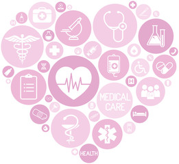 set of medical icons on circular pink colored buttons that form a heart, vector, web design elements about medicine