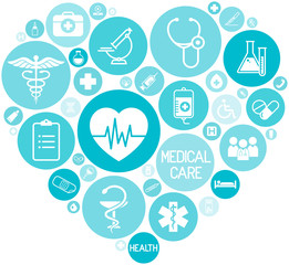 set of medical icons on circular blue colored buttons that form a heart, vector, web design elements about medicine
