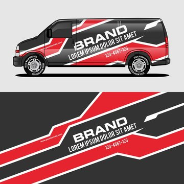 car livery red van wrap design wrapping sticker and decal design for corporate company branding vector