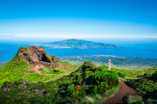 The Azores: View from Pico island towards the atlantic ocean and Faial.