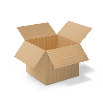 Realistic cardboard open box, side view